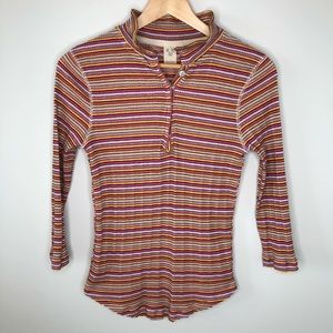 Free People We the Free Multi-Coloured 3/4 Henley